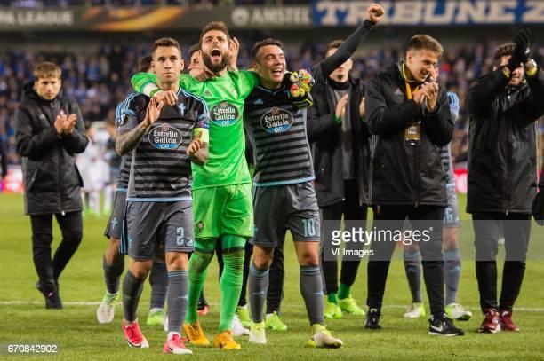 Hugo Mallo of RC Celta de Vigo goalkeeper Sergio Alvarez of RC Celta de Vigo Iago Aspas of RC Celta de Vigoduring the UEFA Europa League quarter...