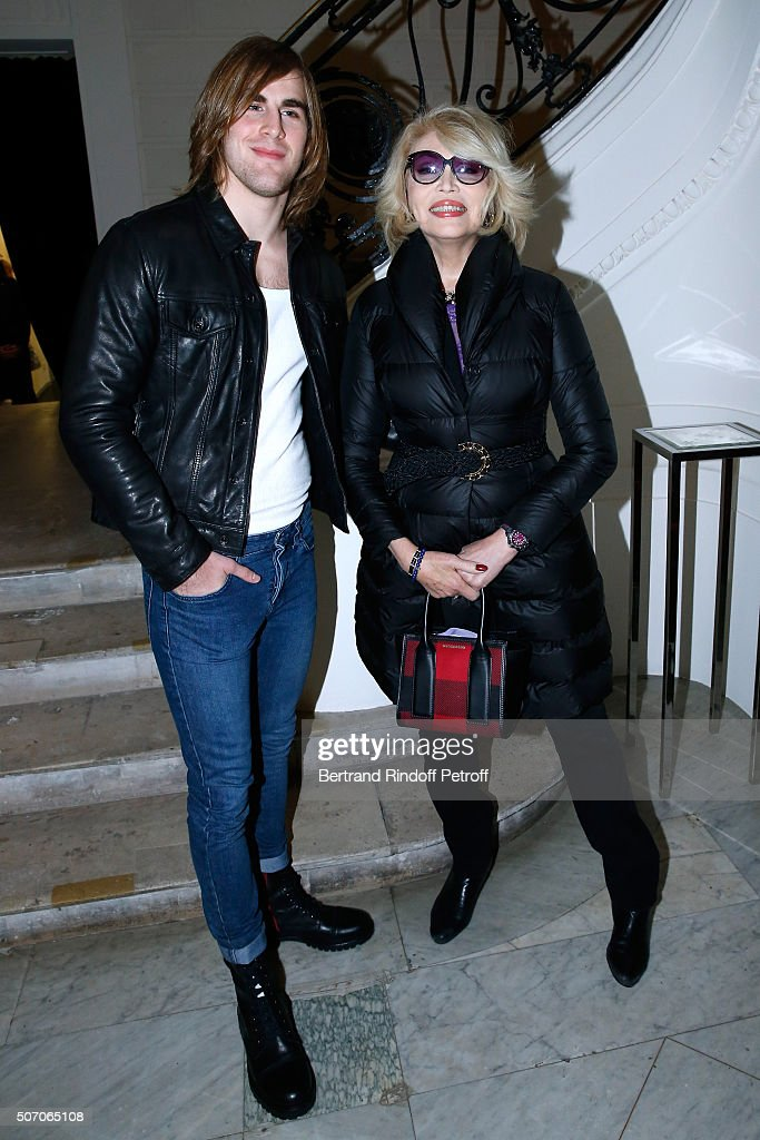 Hugo Marquez and Amanda Lear attend the Jean Paul Gaultier Spring Summer 2016 show as part of Paris Fashion Week on January 27, 2016 in Paris, France.