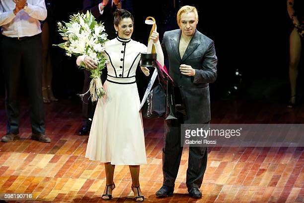 Hugo Mastrolorenzo and Agustina Vignau of Argentina celebrate after wining the Stage Tango Final as part of Buenos Aires Tango Festival World...
