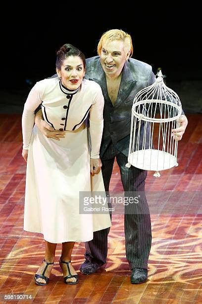 Hugo Mastrolorenzo and Agustina Vignau of Argentina greets the public during the Stage Tango Final as part of Buenos Aires Tango Festival World...
