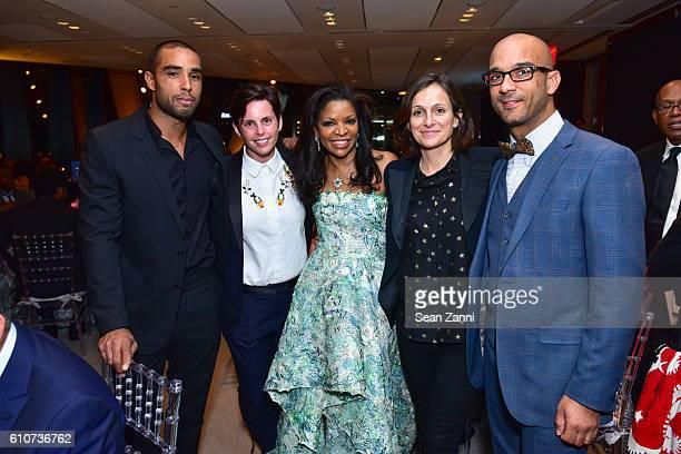 Hugo McCloud Jessica Silverman Pamela J Joyner and Samuel Jones attend Abstracted Black Tie Dinner Hosted by Pamela Joyner Fred Giuffrida and the...