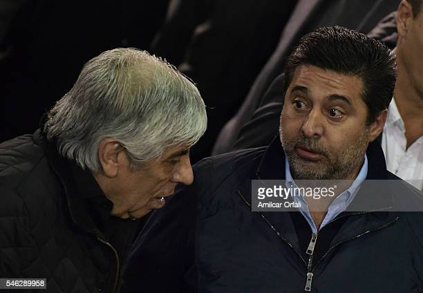 Hugo Moyano President of Independiente and Daniel Angelici speak during a match between River Plate and Independiente as part of fifth round of...