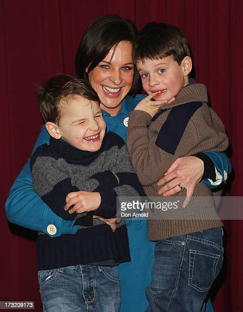 Hugo Natarsha and Harrison Belling pose during the Disney On Ice 'Princesses Heroes' opening show VIP party at Allphones Arena on July 10 2013 in...