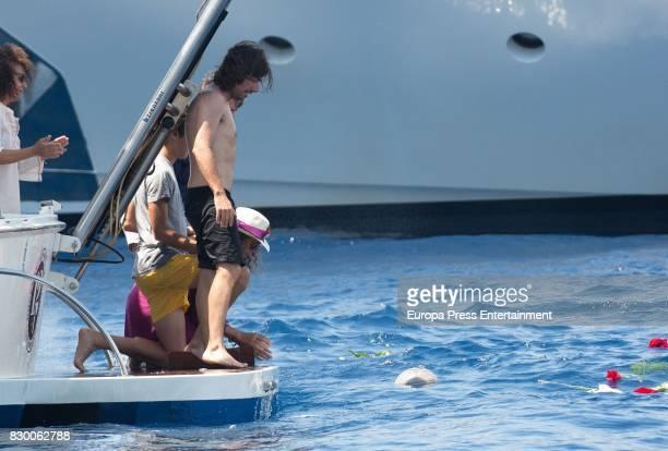 Hugo Nieto and Gelete Nieto scatter Angel Nieto's ashes into the Mediterranean sea on August 6 2017 in Ibiza Spain