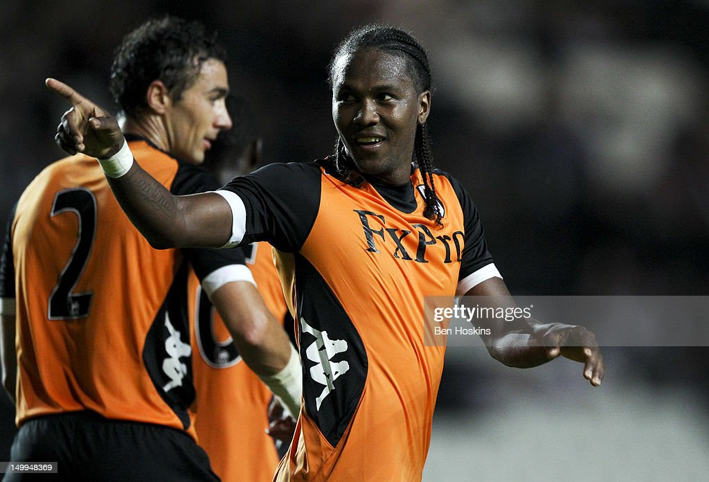 <a gi-track='captionPersonalityLinkClicked' href=/galleries/search?phrase=Hugo+Rodallega&family=editorial&specificpeople=597054 ng-click='$event.stopPropagation()'>Hugo Rodallega</a> of Fulham celebrates scoring the only goal of the game during a Pre-Season Friendly Match between MK Dons and Fulham at Stadium MK on August 7, 2012 in Milton Keynes, England.