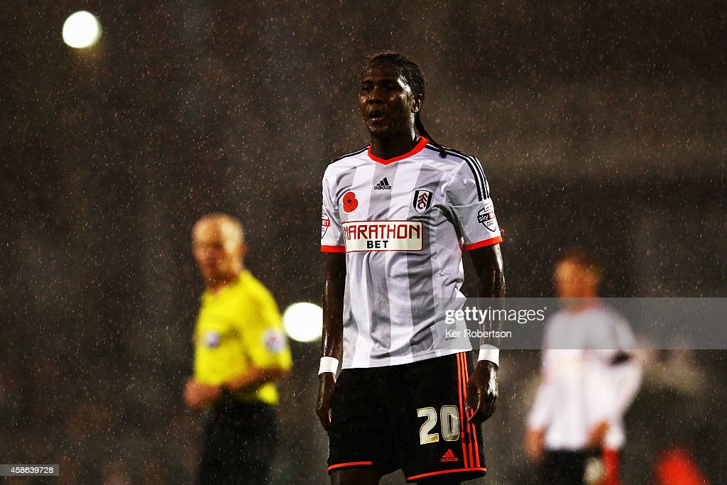 <a gi-track='captionPersonalityLinkClicked' href=/galleries/search?phrase=Hugo+Rodallega&family=editorial&specificpeople=597054 ng-click='$event.stopPropagation()'>Hugo Rodallega</a> of Fulham is seen during the Sky Bet Championship match between Fulham and Huddersfield Town at Craven Cottage on November 8, 2014 in London, England.