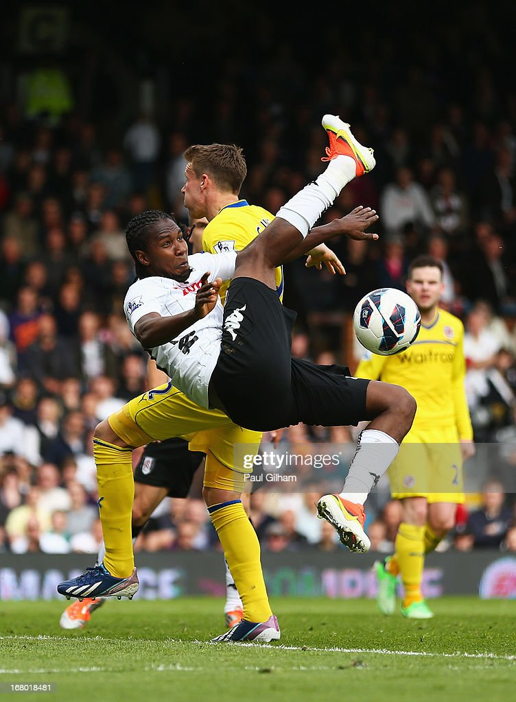 <a gi-track='captionPersonalityLinkClicked' href=/galleries/search?phrase=Hugo+Rodallega&family=editorial&specificpeople=597054 ng-click='$event.stopPropagation()'>Hugo Rodallega</a> of Fulham performs an overhead kick during the Barclays Premier League match between Fulham and Reading at Craven Cottage on May 4, 2013 in London, England.