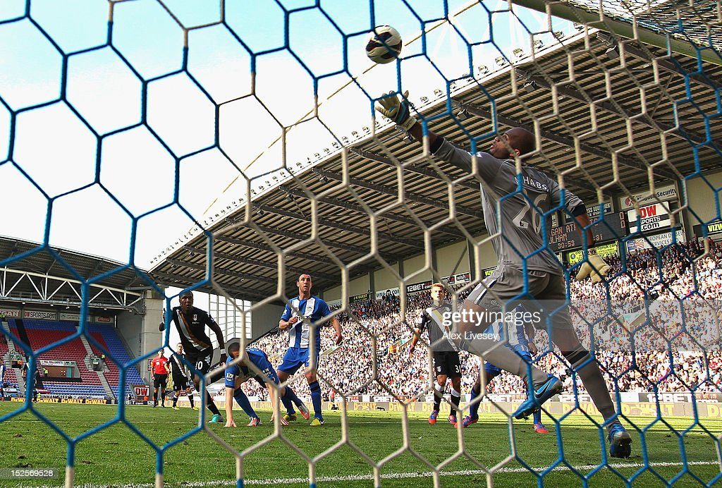 <a gi-track='captionPersonalityLinkClicked' href=/galleries/search?phrase=Hugo+Rodallega&family=editorial&specificpeople=597054 ng-click='$event.stopPropagation()'>Hugo Rodallega</a> of Fulham scores the opening goal past <a gi-track='captionPersonalityLinkClicked' href=/galleries/search?phrase=Ali+Al+Habsi&family=editorial&specificpeople=1029315 ng-click='$event.stopPropagation()'>Ali Al Habsi</a> of Wigan Athletic during the Barclays Premier League match between Wigan Athletic and Fulham at DW Stadium on September 22, 2012 in Wigan, England.