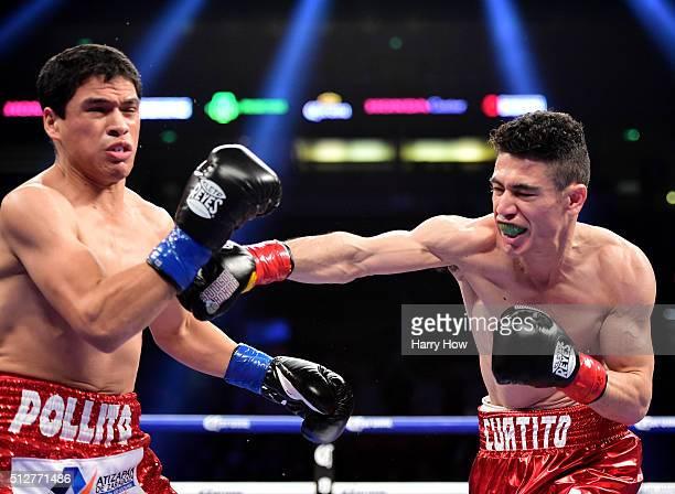 Hugo Ruiz knocks down Julio Ceja to win the WBC Super Bantamweight title with a first round TKO at Honda Center on February 27 2016 in Anaheim...