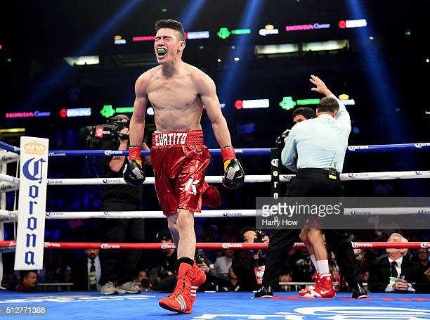 Hugo Ruiz reacts to his first round TKO of Julio Ceja to win the WBC Super Bantamweight title at Honda Center on February 27 2016 in Anaheim...
