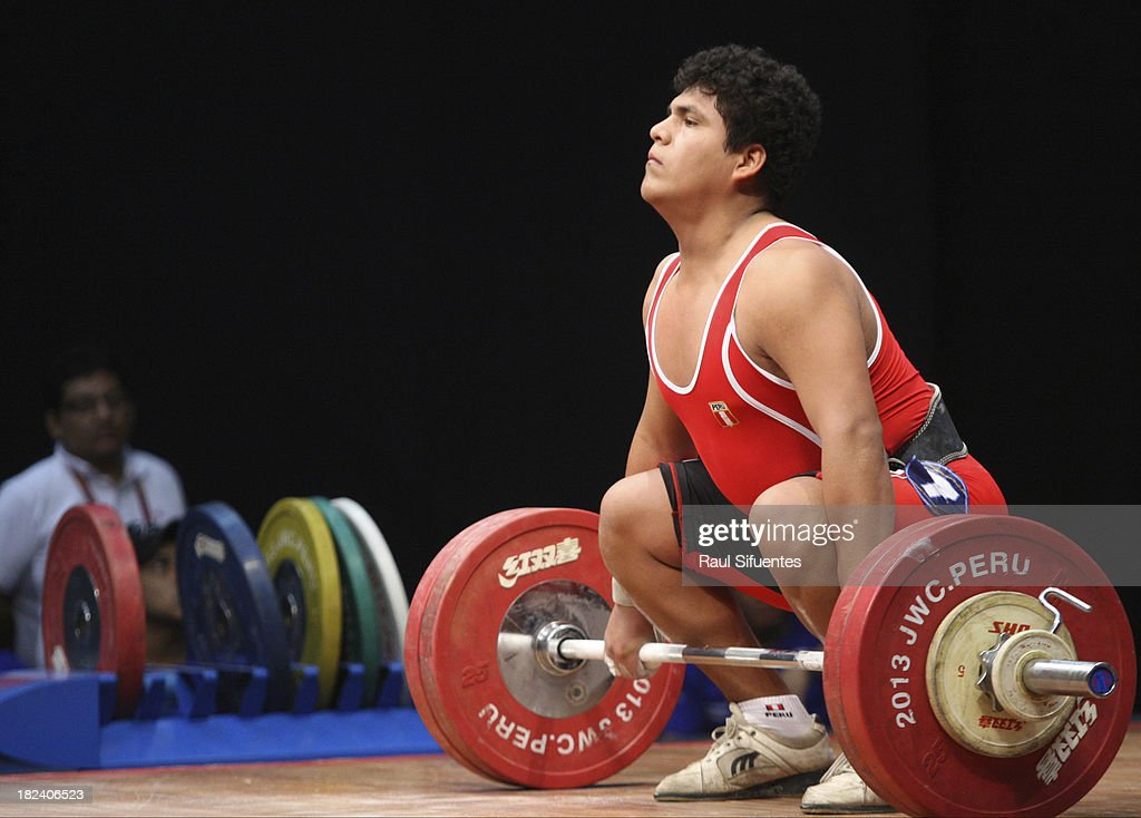 Hugo Saldarriaga Calle of Peru competes in Men's Final as part of the I ODESUR South American Youth Games at Coliseo Miguel Grau on September 29, 2013 in Lima, Peru.