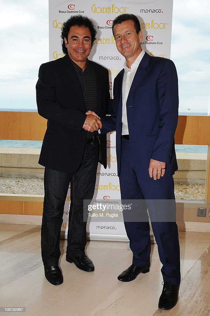 Hugo Sanchez and Carlos Dunga attend the Golden Foot Previews on October 10 2010 in Monaco Monaco