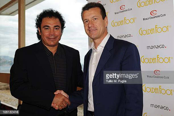 Hugo Sanchez and Carlos Dunga attend the Golden Foot Previews on October 10 2010 in Monaco Monaco