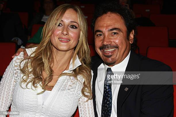 Hugo Sanchez and his wife Isabel Martin pose for a photo during the Second Investiture Ceremony for the Second Hall of Fame National and...
