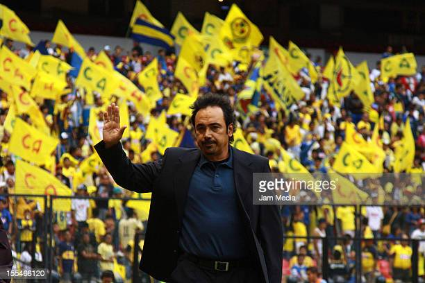 Hugo Sanchez head coach of Pachuca greets during the Apertura 2012 Liga MX at Azteca Stadium on november 03 2012 in Mexico City Mexico