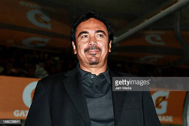 Hugo Sanchez head coach of Pachuca looks on during a match between Pachuca and Jaguares as part of the Apertura 2012 Liga MX at Hidalgo Stadium on...