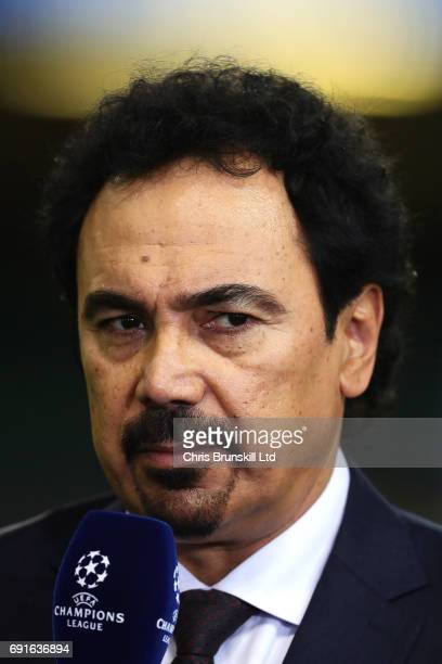 Hugo Sanchez speaks to the media during a Real Madrid training session ahead of the UEFA Champions League Final at the National Stadium of Wales on...