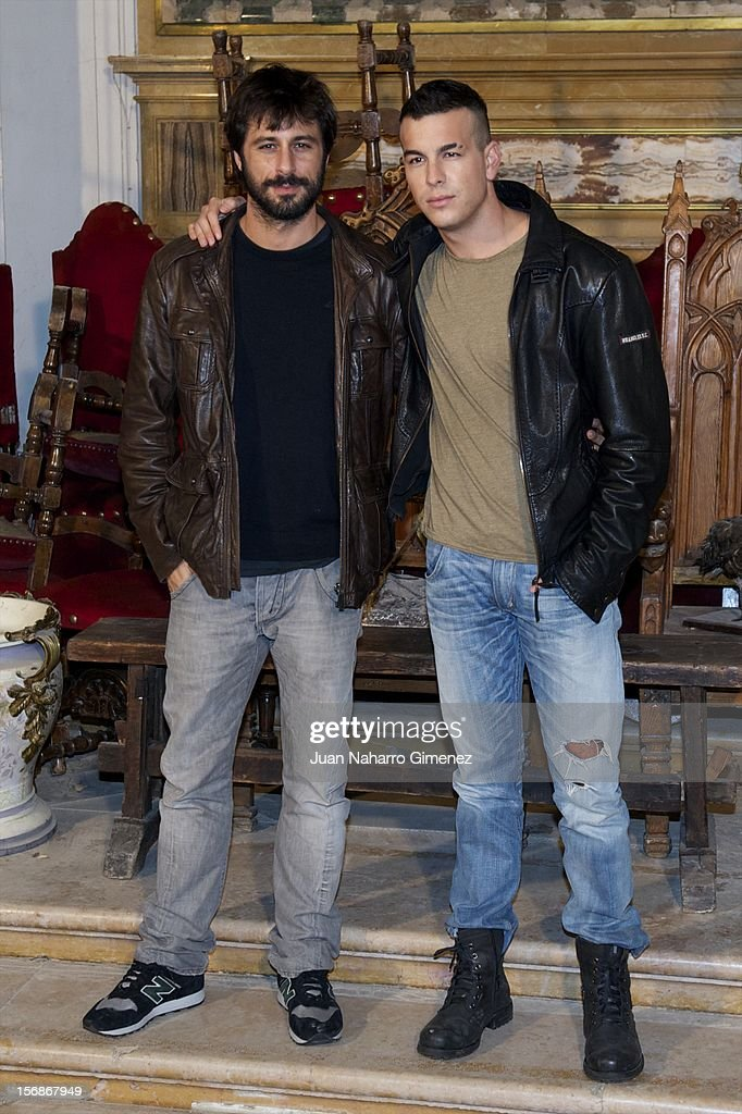 Hugo Silva and Mario Casas attend 'Las Brujas de Zugarramurdi' on set filming at Palacio del Infante Don Luis on November 23, 2012 in Madrid, Spain.
