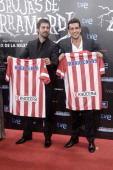 Hugo Silva and Mario Casas attend 'Las brujas de Zugarramurdi' premiere photocall at Kinepolis Cinema on September 26 2013 in Madrid Spain