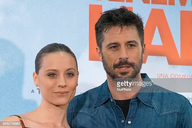 Hugo Silva and Michelle Jenner attends 'Tenemos Que Hablar' photocall at Telefonica Flagship Store on February 24 2016 in Madrid Spain