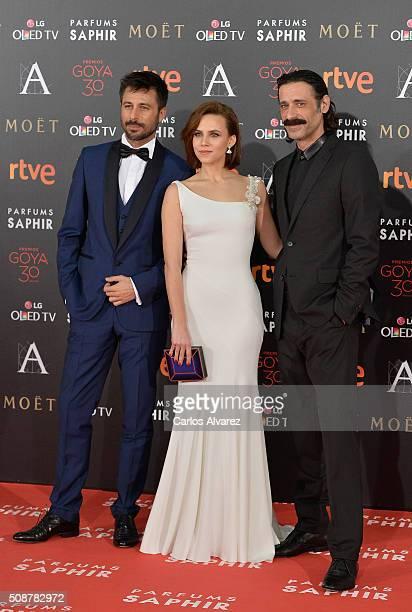 Hugo Silva Aura Garrido and Nacho Fresneda attend Goya Cinema Awards 2016 at Madrid Marriott Auditorium on February 6 2016 in Madrid Spain