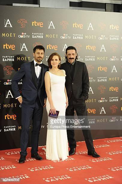 Hugo Silva Aura Garrido and Nacho Fresneda attend Goya Cinema Awards 2016 at Madrid Marriott Aud