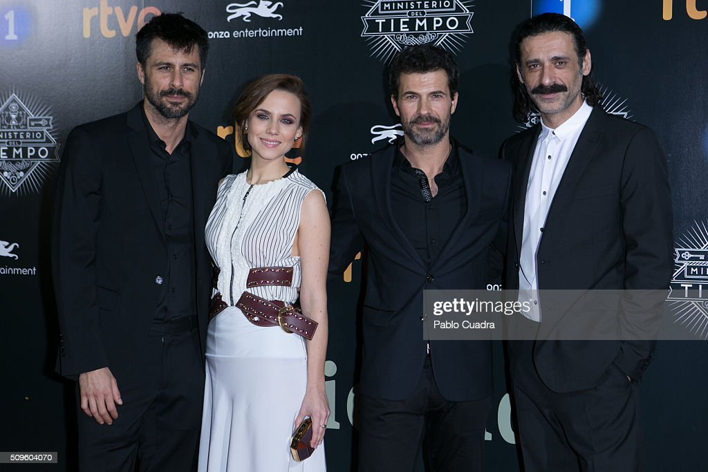 <a gi-track='captionPersonalityLinkClicked' href=/galleries/search?phrase=Hugo+Silva&family=editorial&specificpeople=605764 ng-click='$event.stopPropagation()'>Hugo Silva</a>, <a gi-track='captionPersonalityLinkClicked' href=/galleries/search?phrase=Aura+Garrido&family=editorial&specificpeople=6914215 ng-click='$event.stopPropagation()'>Aura Garrido</a>, <a gi-track='captionPersonalityLinkClicked' href=/galleries/search?phrase=Rodolfo+Sancho&family=editorial&specificpeople=5717157 ng-click='$event.stopPropagation()'>Rodolfo Sancho</a> and Nacho Fresneda attend the 'El Ministerio del Tiempo' season 2 premiere at Capitol Cinema on February 11, 2016 in Madrid, Spain.