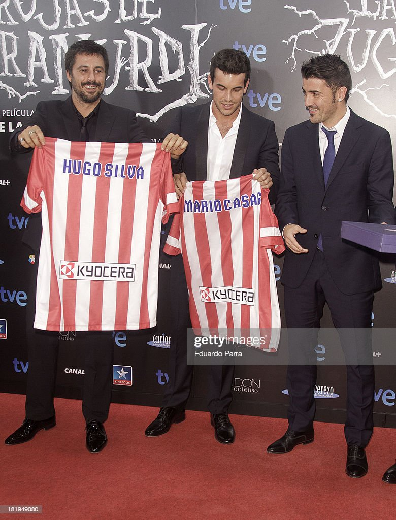 Hugo Silva, Mario Casas and <a gi-track='captionPersonalityLinkClicked' href=/galleries/search?phrase=David+Villa&family=editorial&specificpeople=467566 ng-click='$event.stopPropagation()'>David Villa</a> attend 'Las brujas de Zugarramurdi' premiere photocall at Kinepolis Cinema on September 26, 2013 in Madrid, Spain.
