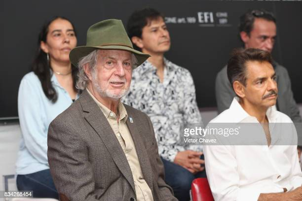 Hugo Stiglitz and Eugenio Derbez attend a press conference and photocall to promote the film 'El Complot Mongol' at Club de Periodistas de Mexico on...