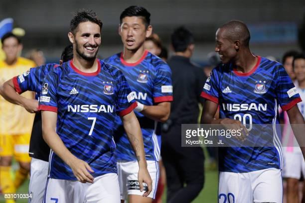 Hugo Vieira and Martinus of Yokohama FMarinos celebrate their 10 victory in the JLeague J1 match between Yokohama FMarinos and Sagan Tosu at Nippatsu...