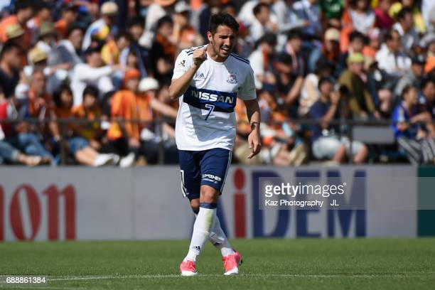 Hugo Vieira of Yokohama FMarinos celebrates scoring his side's second goal during the JLeague J1 match between Shimizu SPulse and Yokohama FMarinos...