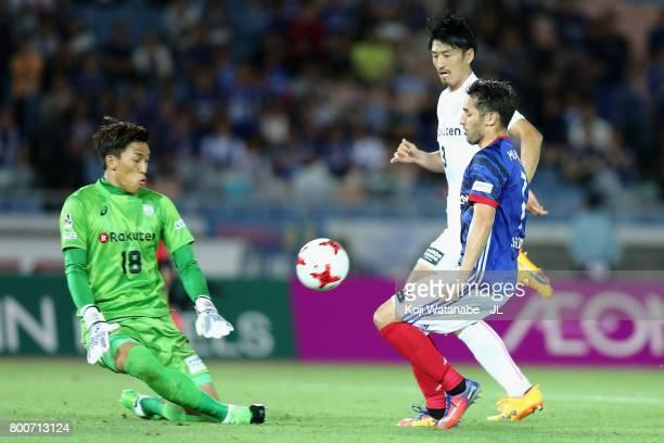 Hugo Vieira of Yokohama FMarinos scores his side's second goal during the JLeague J1 match between Yokohama FMarinos and Vissel Kobe at Nissan...