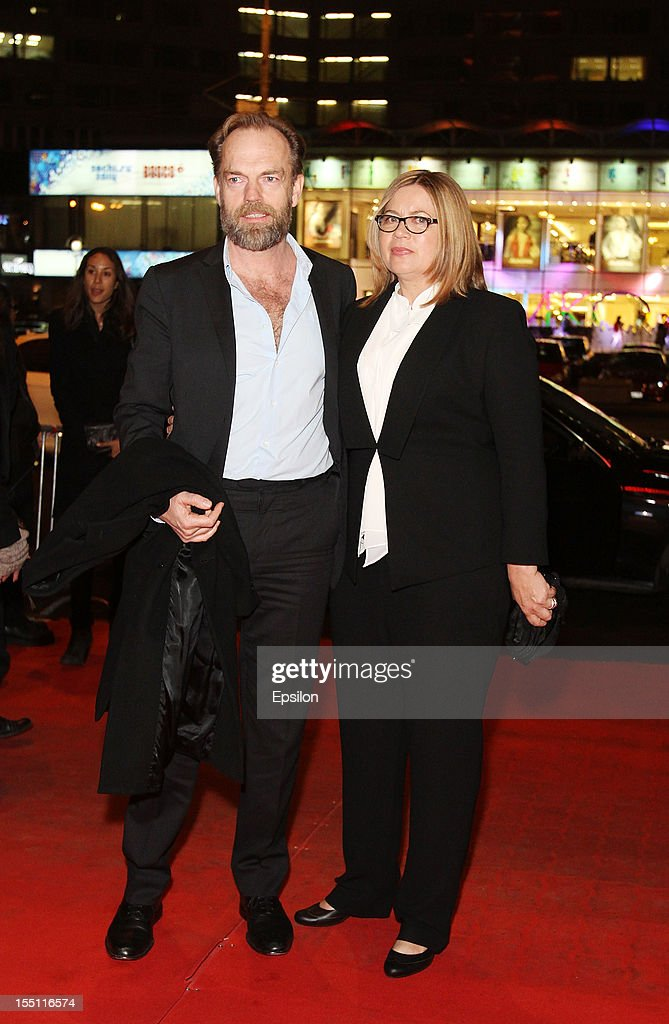 Hugo Weaving and wife attend the premiere of Warner Bros. Pictures' 'Cloud Atlas' in Oktyabr cinema hall on November 1, 2012 in Moscow, Russia.