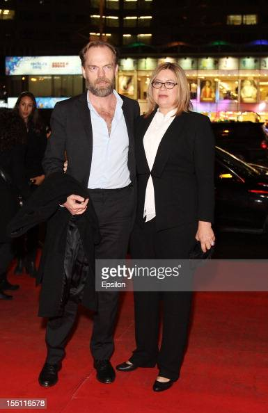 Hugo Weaving and wife attend the premiere of Warner Bros Pictures' 'Cloud Atlas' in Oktyabr cinema hall on November 1 2012 in Moscow Russia