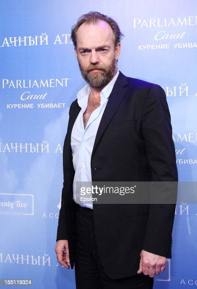Hugo Weaving arrives at the premiere of Warner Bros Pictures' 'Cloud Atlas' in Oktyabr cinema hall on November 1 2012 in Moscow Russia