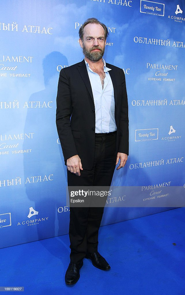 <a gi-track='captionPersonalityLinkClicked' href=/galleries/search?phrase=Hugo+Weaving&family=editorial&specificpeople=217230 ng-click='$event.stopPropagation()'>Hugo Weaving</a> arrives at the premiere of Warner Bros. Pictures' 'Cloud Atlas' in Oktyabr cinema hall on November 1, 2012 in Moscow, Russia.