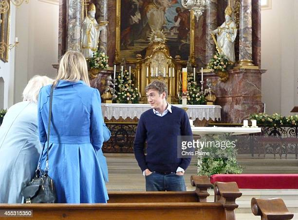 Hugo Wilson stands in front of the altar during a rehearsal of his wedding with Maria Theresia Princess von Thurn und Taxis on September 12 2014 in...
