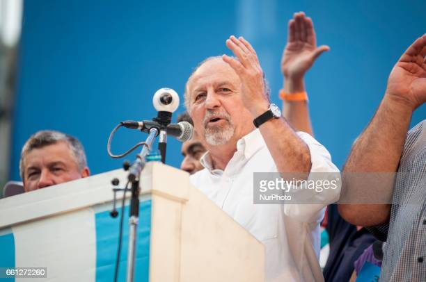 Hugo Yasky leader of the Confederation of Argentine Workers speaks during a protest in Buenos Aires Argentina on March 30 2017