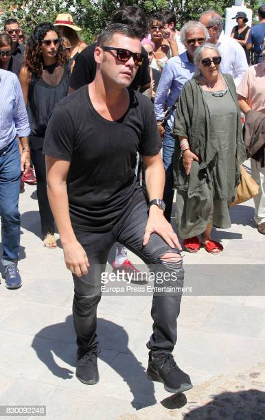 Hugoi Nieto attends the funeral chapel for former motorcycling world champion Angel Nieto at Tanatorio de Ibiza on August 4 2017 in Ibiza Spain