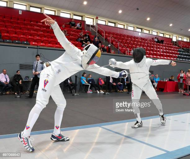 Hugues BoisvertSimard of Canada fences Ruben Limardo Gascon of Venezuela during semifinal action in the Team Men's Epee event on June 17 2017 at the...