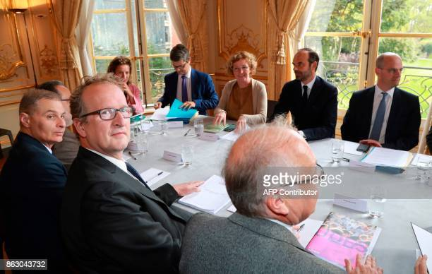 Hugues Vidor president of the UDES arrives for a meeting with French Education Minister JeanMichel Blanquer French Prime Minister Edouard Philippe...