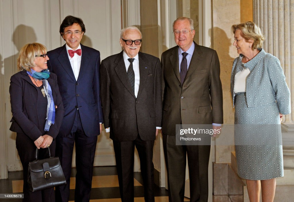 Huguette Thielemans, Belgian Prime Minister Elio Di Rupo, Toots Thielemans and King Albert II and Queen Paola on a visit to the Palace to celebrate Toots Thielemans upcoming 90th birthday at the Royal Palace of Belgium on April 23, 2012 in Brussels Belgium. Musician Toots Thielemans celebrates his 90th birthday on April 29,2012.