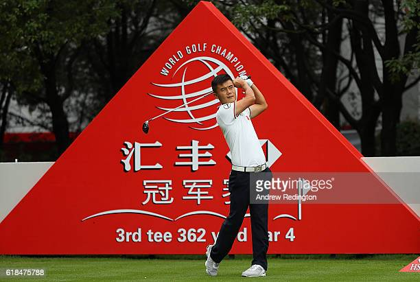 Hui Lin Zhang of China tees off on the 3rd hole during day one of the WGC HSBC Champions at Sheshan International Golf Club on October 27 2016 in...