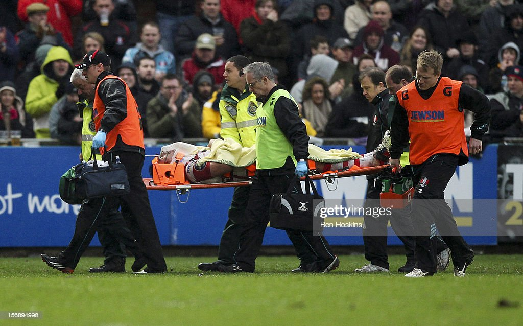 Huia Edmonds of Gloucester is carried off the pitch after picking up an injury during the Aviva Premiership match between Gloucester and Sale Sharks at the Kingsholm Stadium on November 24, 2012 in Gloucester, England.