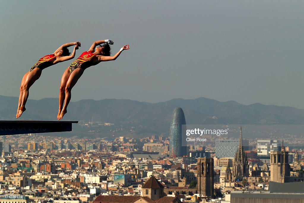 Huixia Liu and <a gi-track='captionPersonalityLinkClicked' href=/galleries/search?phrase=Ruolin+Chen&family=editorial&specificpeople=4198028 ng-click='$event.stopPropagation()'>Ruolin Chen</a> of China compete in the Women's 10m Springboard Diving final on day three of the 15th FINA World Championships at Piscina Municipal de Montjuic on July 22, 2013 in Barcelona, Spain.