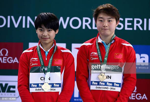 Huixia Liu and Yajie Si of China pose with their gold medal after winning the Women's 10m Synchro Platform Final during day one of the FINA/NVC...