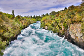 Huka Falls - set of waterfalls on the Waikato River that drains Lake Taupo, New Zealand.