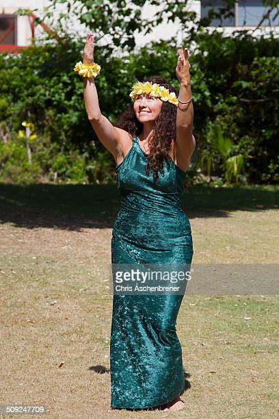Hula dancer in traditional dress