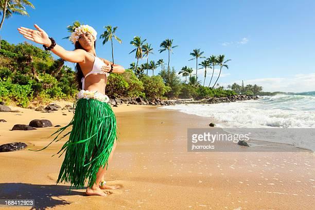 Dançarino de Hula na praia