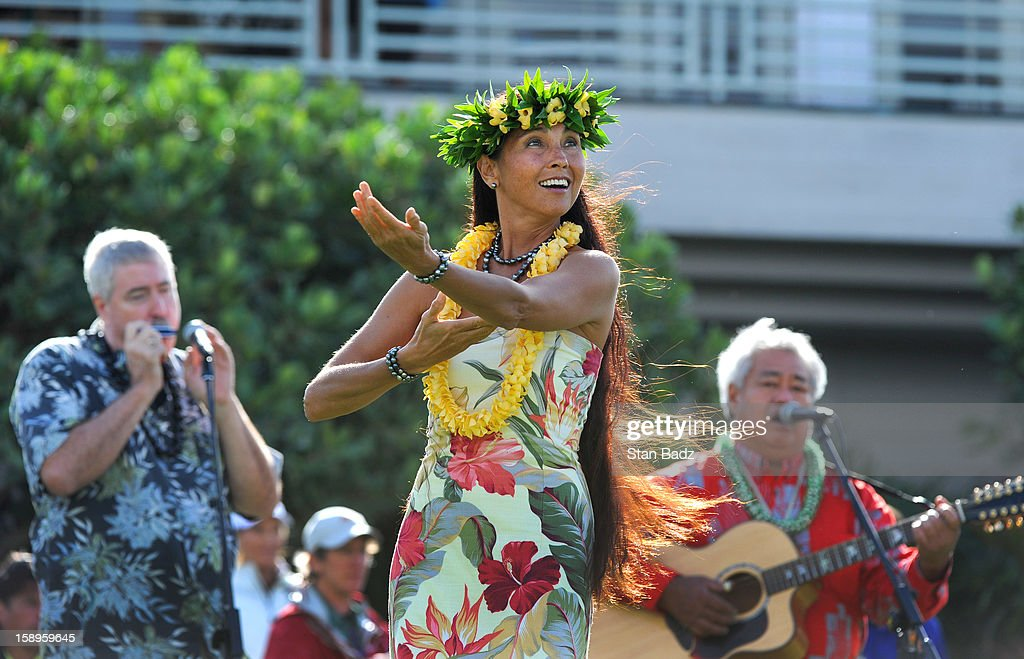 Hula dancer Owana Salazar performs during the opening ceremony during the first round of the Hyundai Tournament of Champions at Plantation Course at Kapalua on January 4, 2013 in Kapalua, Maui, Hawaii.
